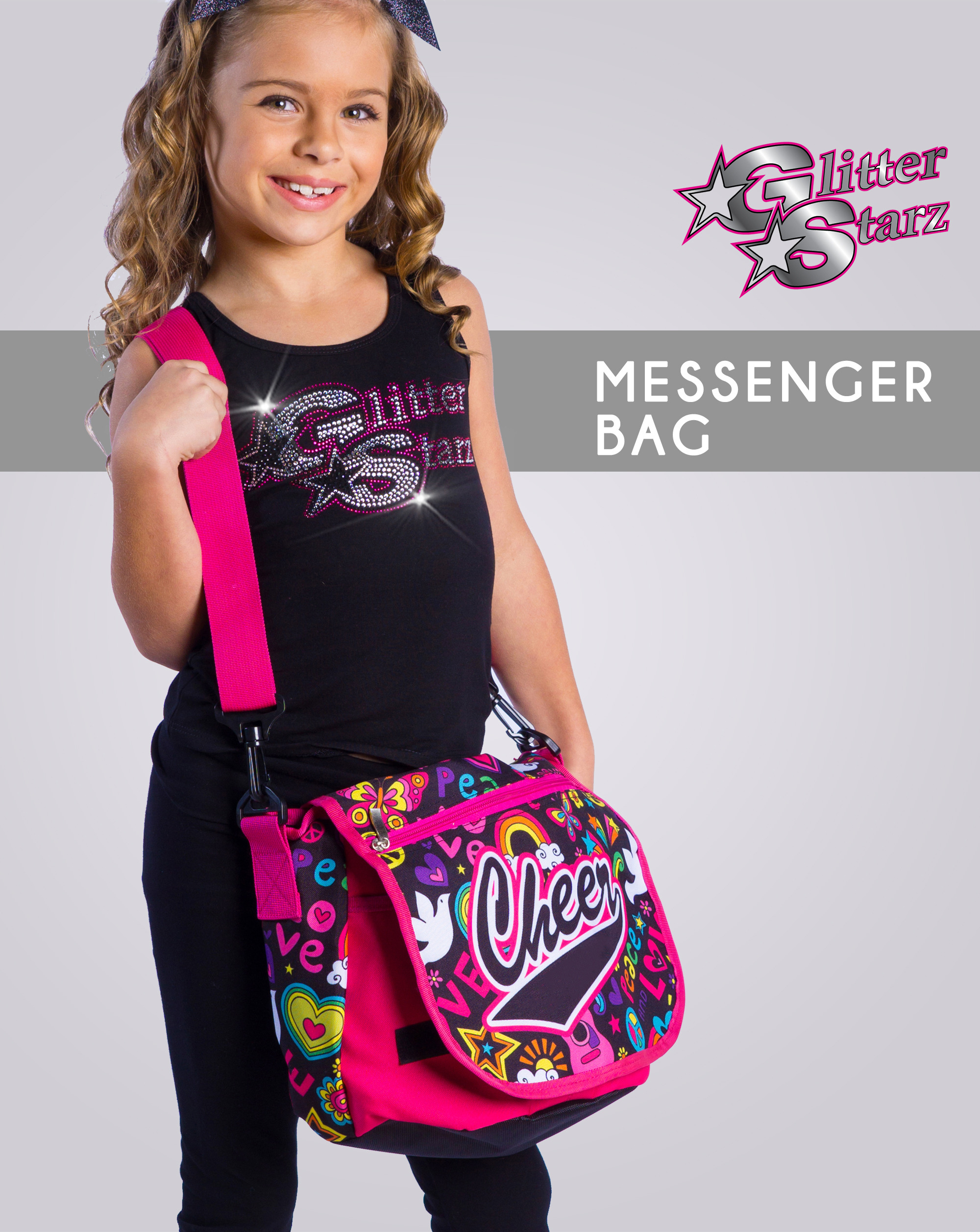 glitterstarz custom cheer messenger bag