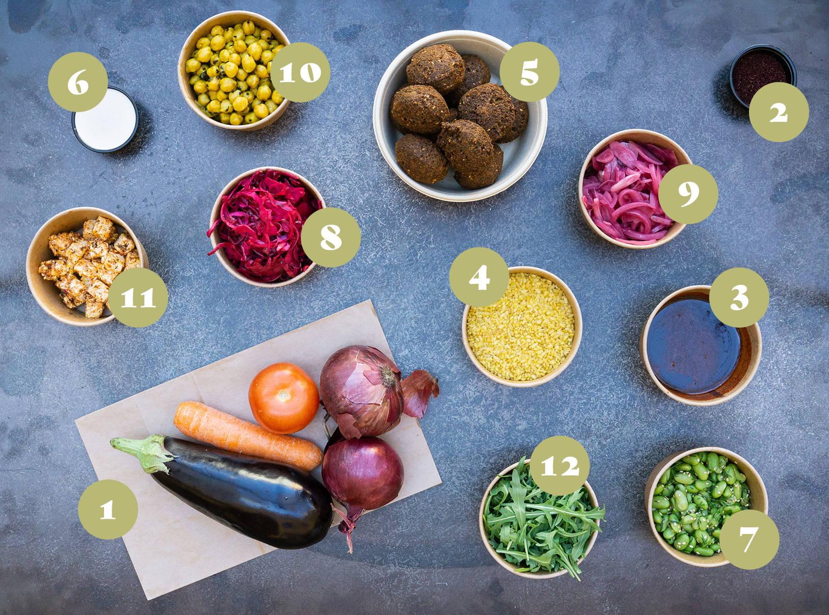 Opskrift og vejledning til Bulgur salat med falafel, rucola, ovnbagt aubergine,  kikærter, salatost, syltede og frisk grønt.