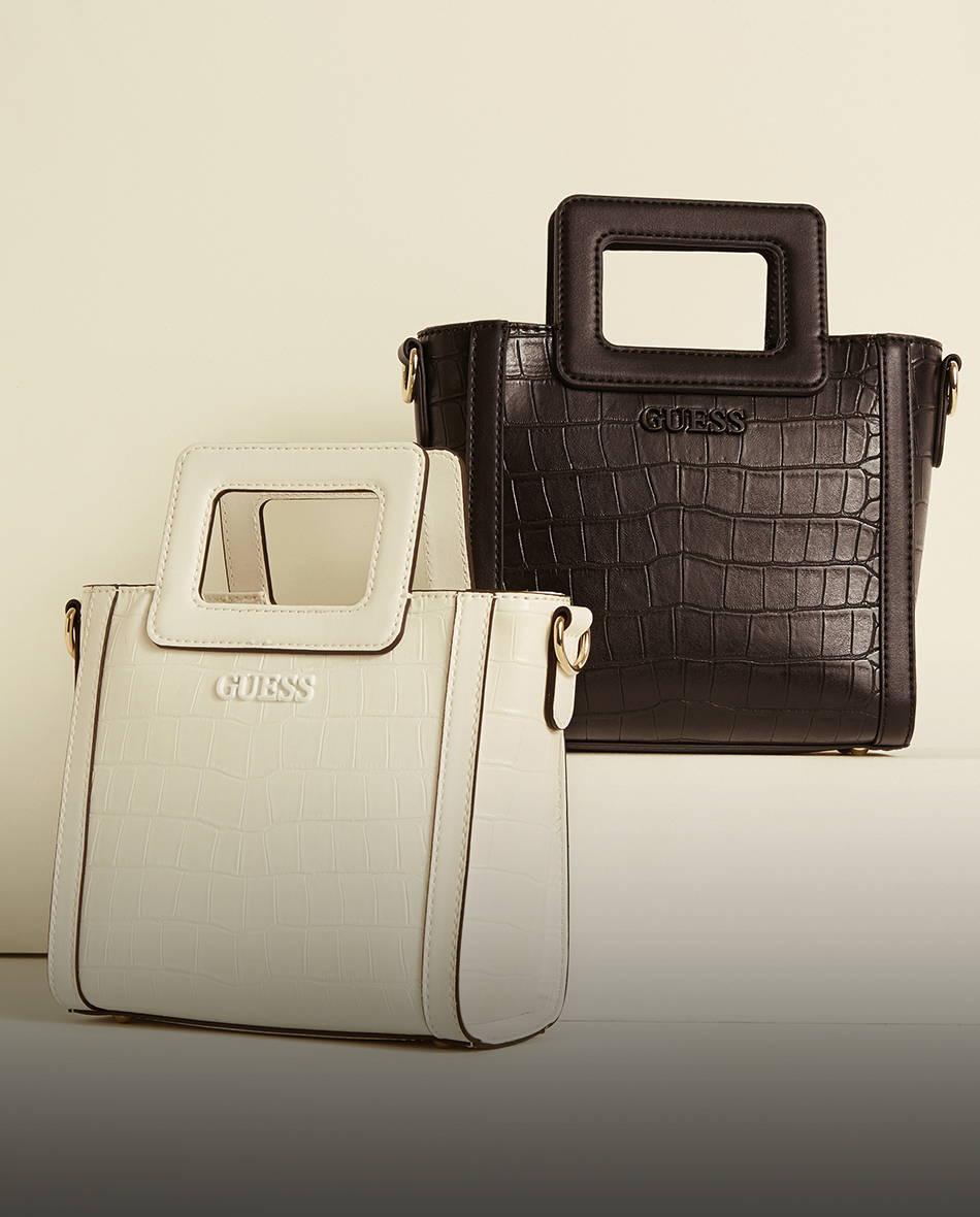 a white and black guess tote handbag
