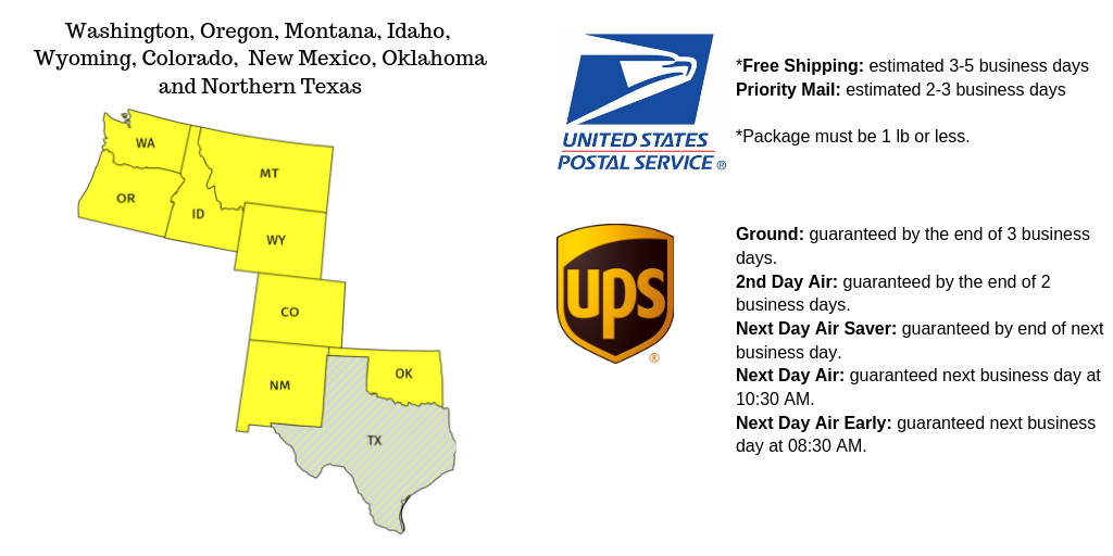 Midwest and Northwest US Shipping Option from united states postal service and UPS