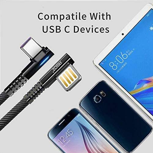 10ft LED Right-Angle USB-C Fast Charger Cable for Samsung