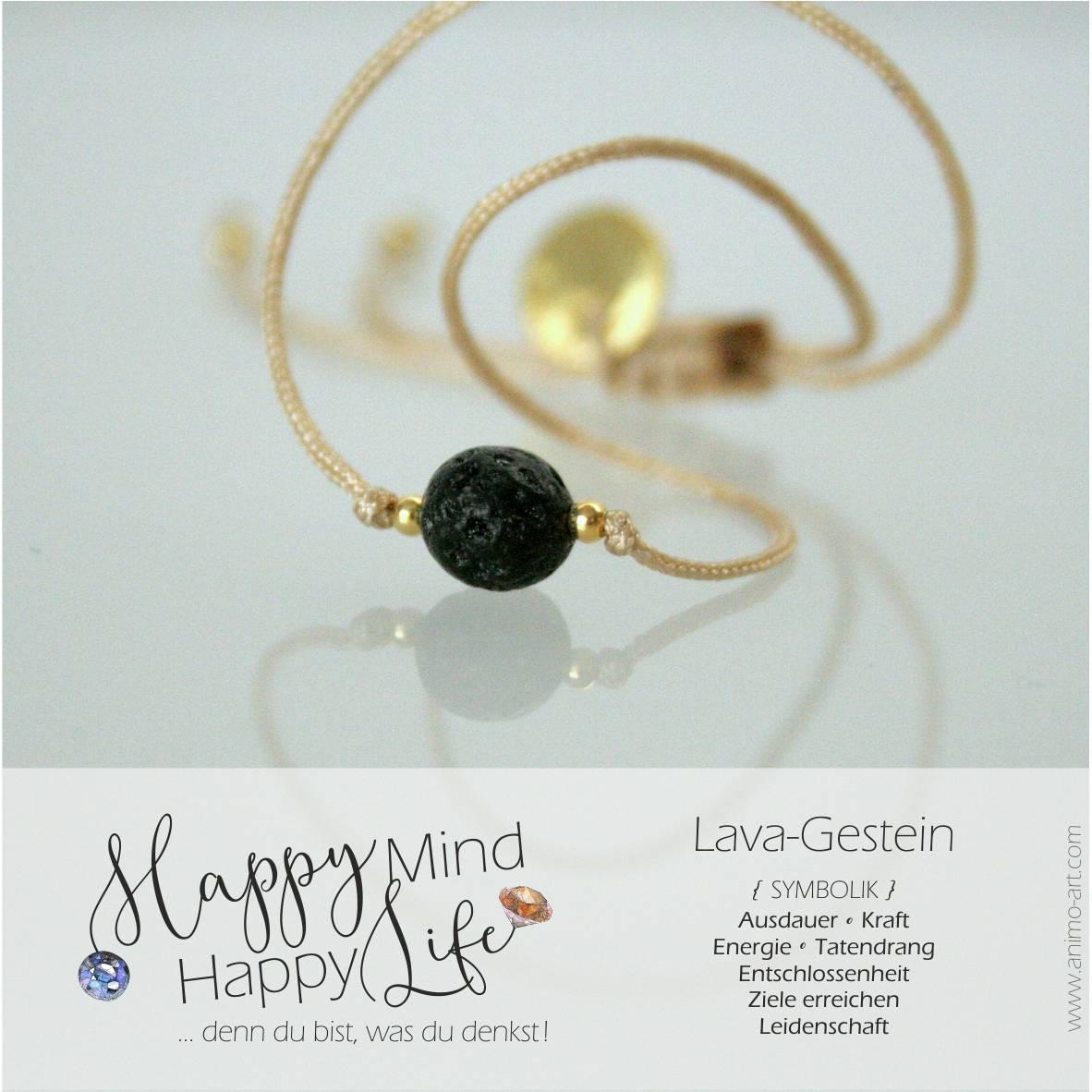 Lava-Gestein Bedeutung, Armband mit Lava-Gestein-Edelstein in schwarz, , Happy Mind Happy Life
