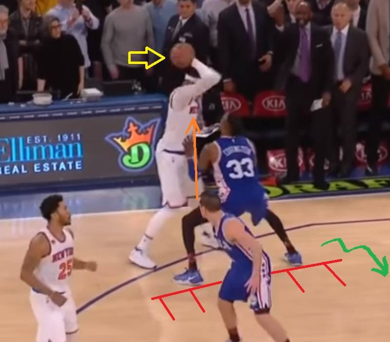 Good position by defenders and Melo`s offensive tendency