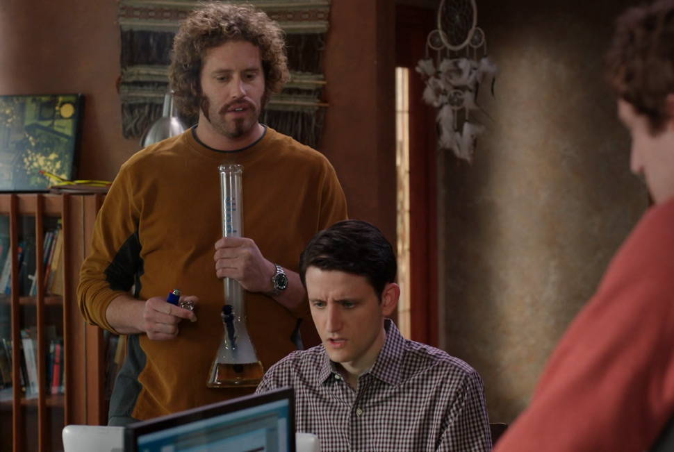 Clip from HBO show Silicon Valley of man smoking a beaker bong