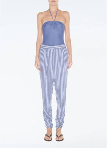 Link To Viscose Twill Shirred Pant paired with bodysuit.