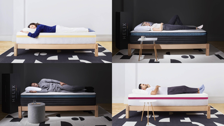 Collage of customers sleeping on Helix mattresses