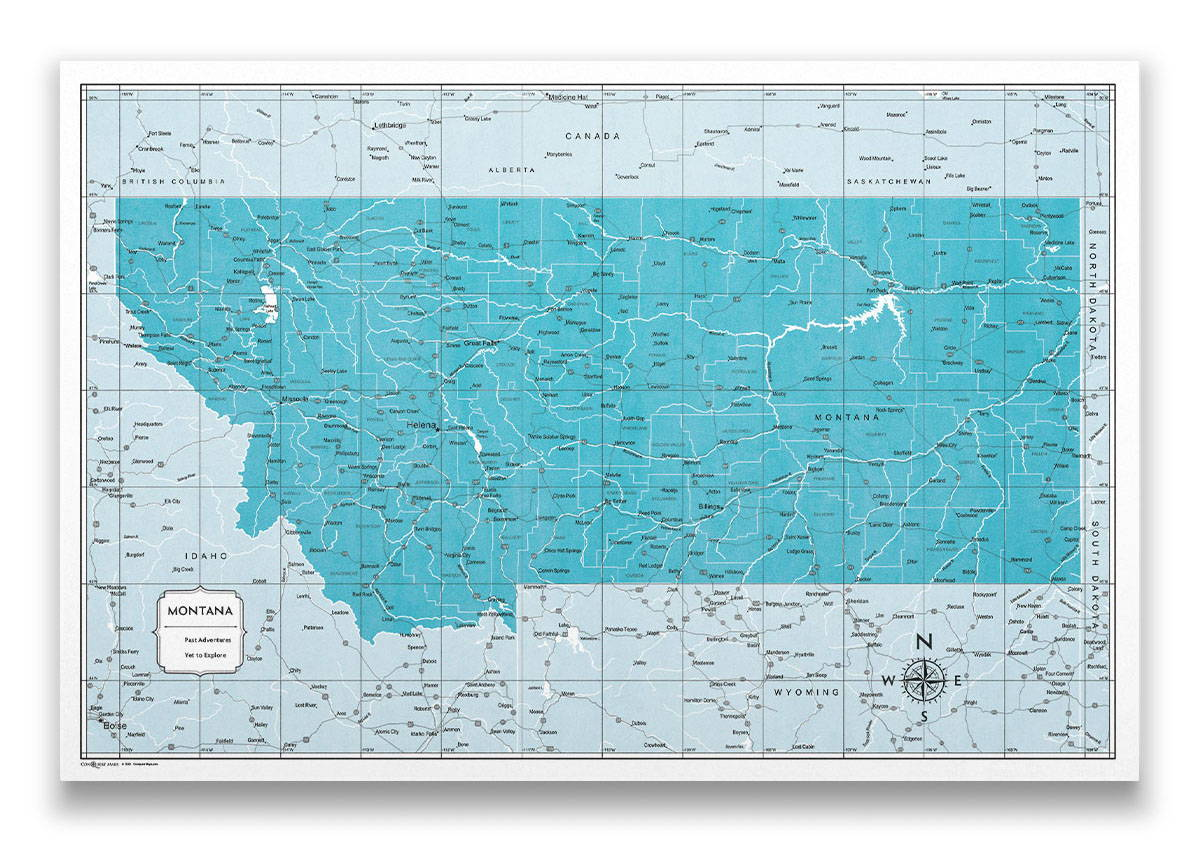 Montana Push pin travel map color splash