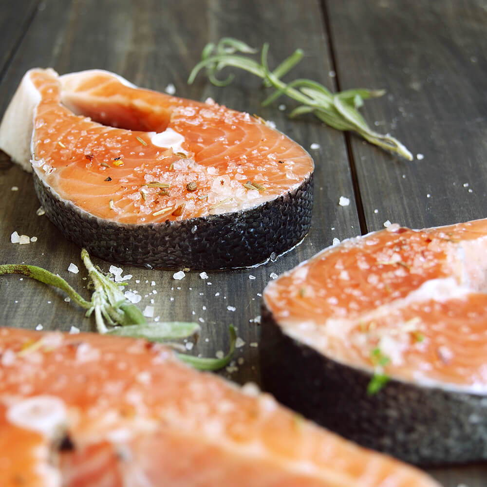 High Quality Organics Express Kosher Salt on Raw Salmon Filets