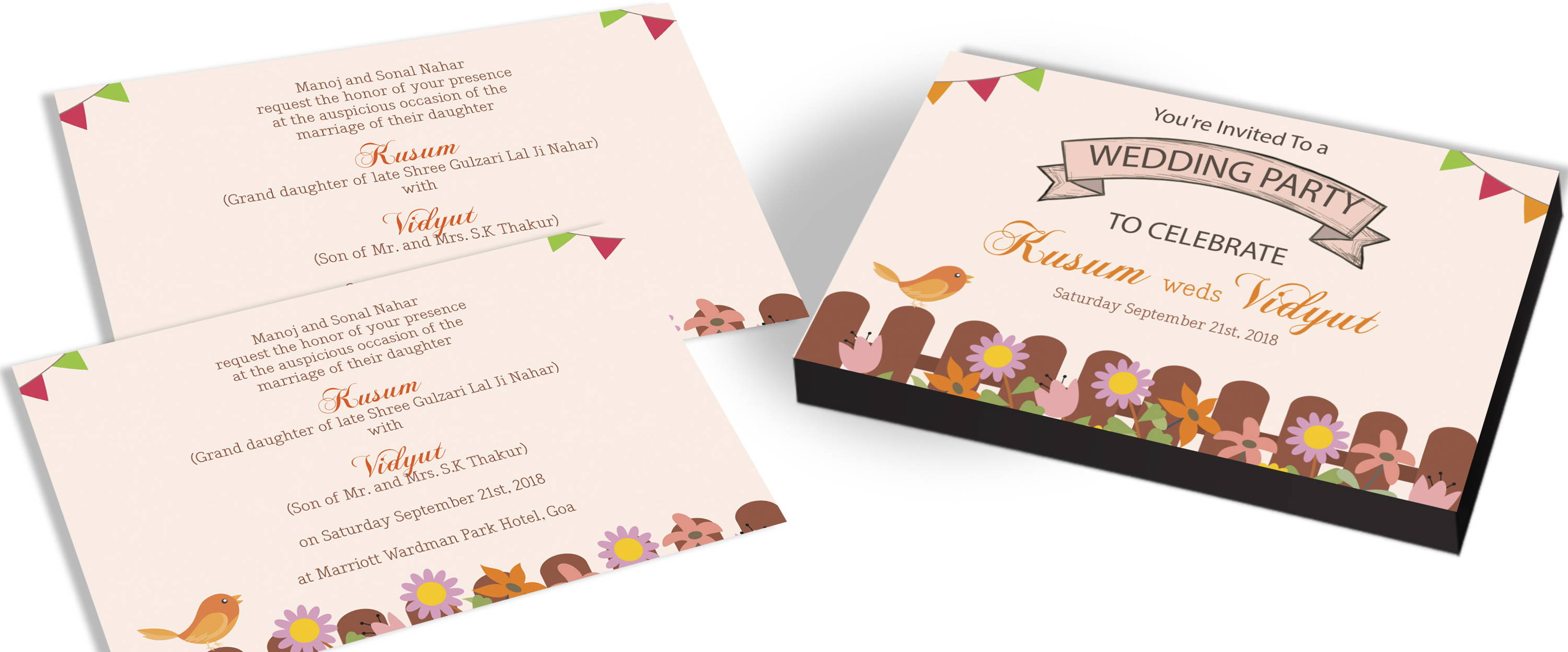 Garden Party Themed Wedding Invitations