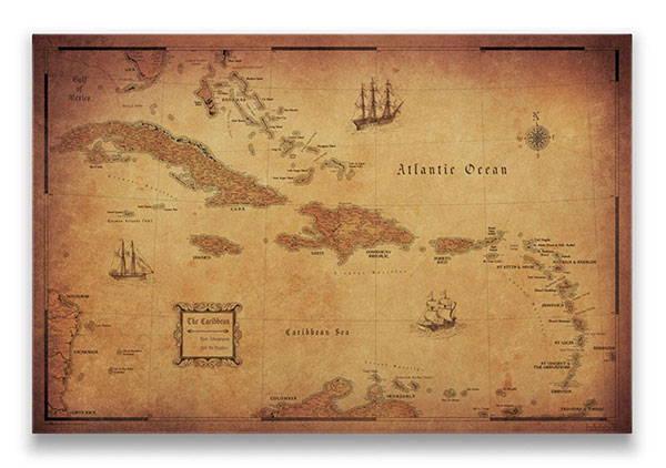 Caribbean Map Pin Board Golden Aged