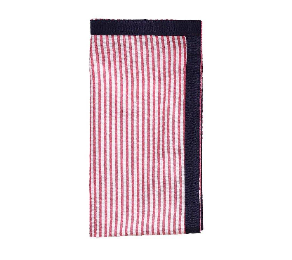 SEERSUCKER RIBBON NAPKIN IN RED & NAVY