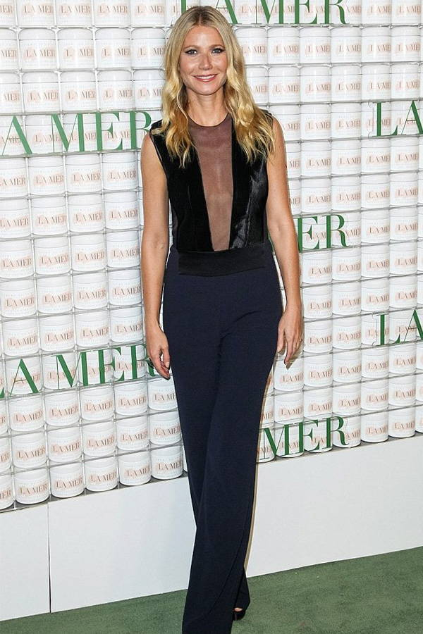 Gwyneth Paltrow wears Galvan London Tulle Plunge Black Jumpsuit
