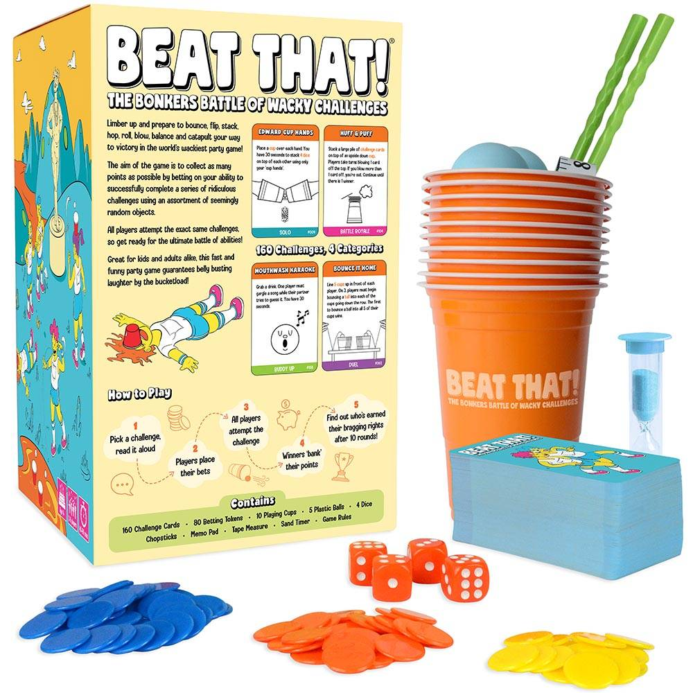 Beat That! Family Party Game Box Back with Components