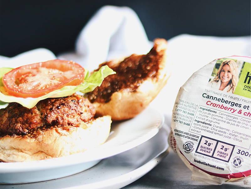 Burger de dinde, fromage et petits fruits Isabelle Huot Docteure en nutrition. Recette de burger de dinde du blogue santé et gourmand.