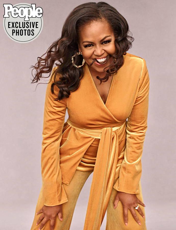 Michelle Obama in Galvan Winter Sun velvet suit in mustard