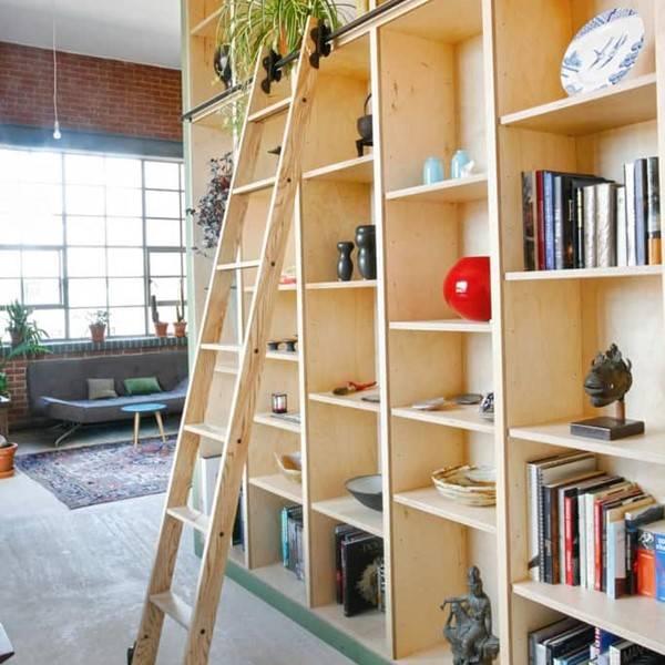 Rolling ladder in london loft
