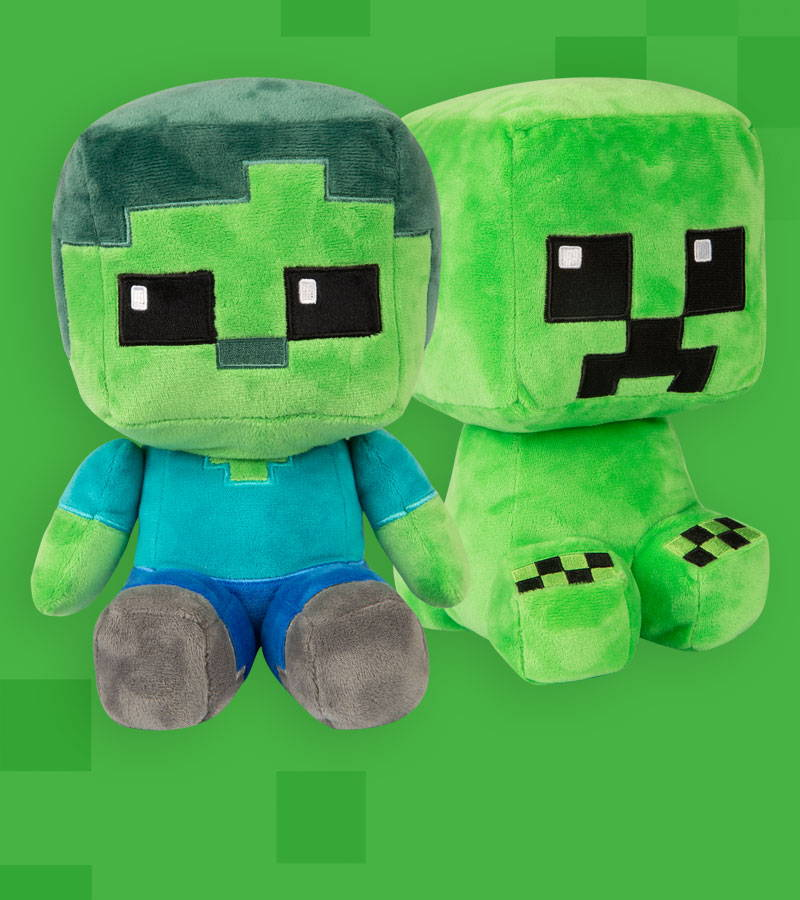 Minecraft Crafter Zombie and Creeper Plush