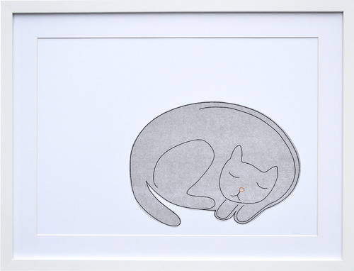 K Studio Grey Cat Framed Stitched Paper