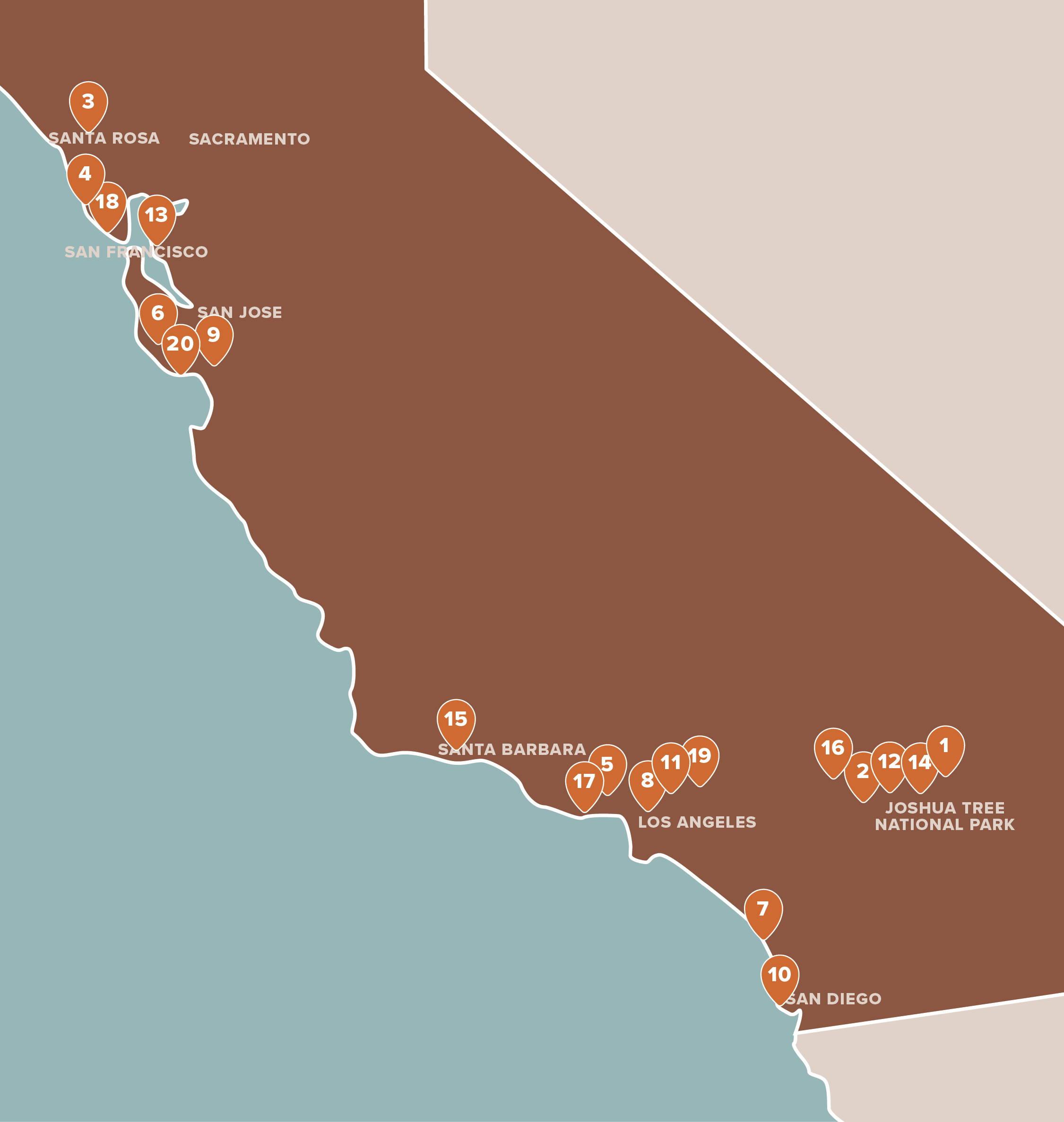 20 unique properties across California