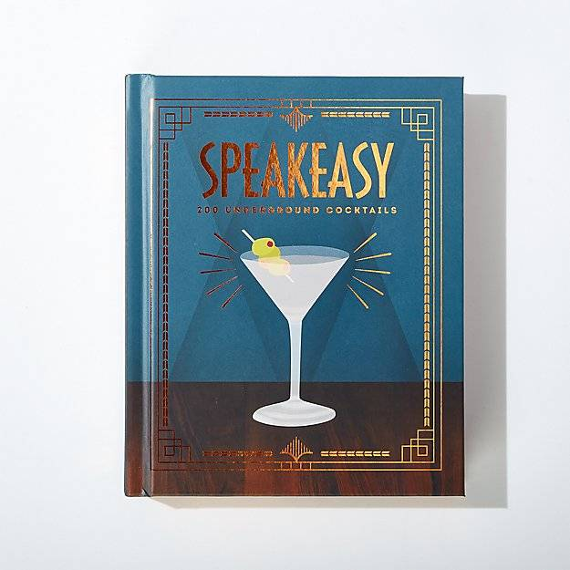 A blue book with the title of Speakeasy and a glass martini on cover.