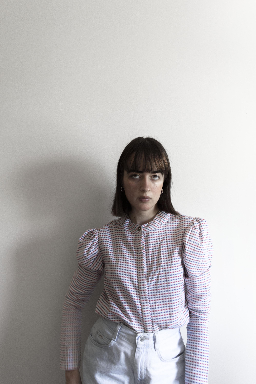 Melissa Dewar in Fanfare Organic Cotton Check Sleeve Top