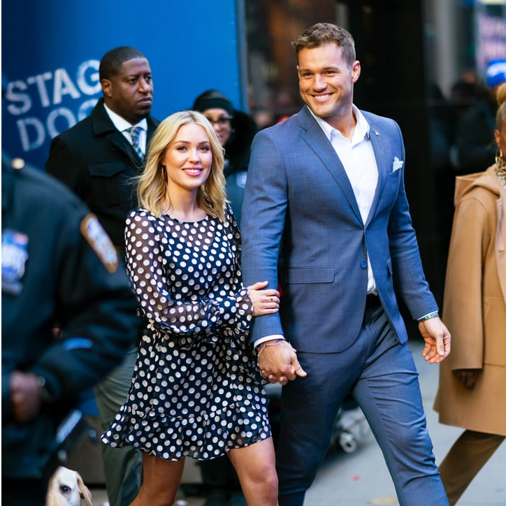 Bachelor Winner Cassie Randolph in Queenie Polka Dot dress by J.ING with Colton Underwood on their way to Good Morning America Show