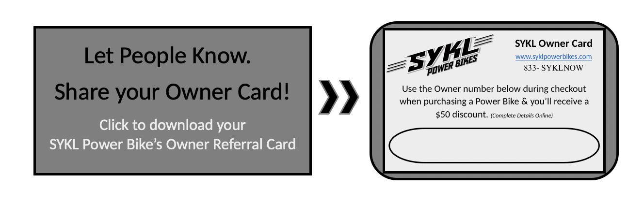 SYKL Owner Card