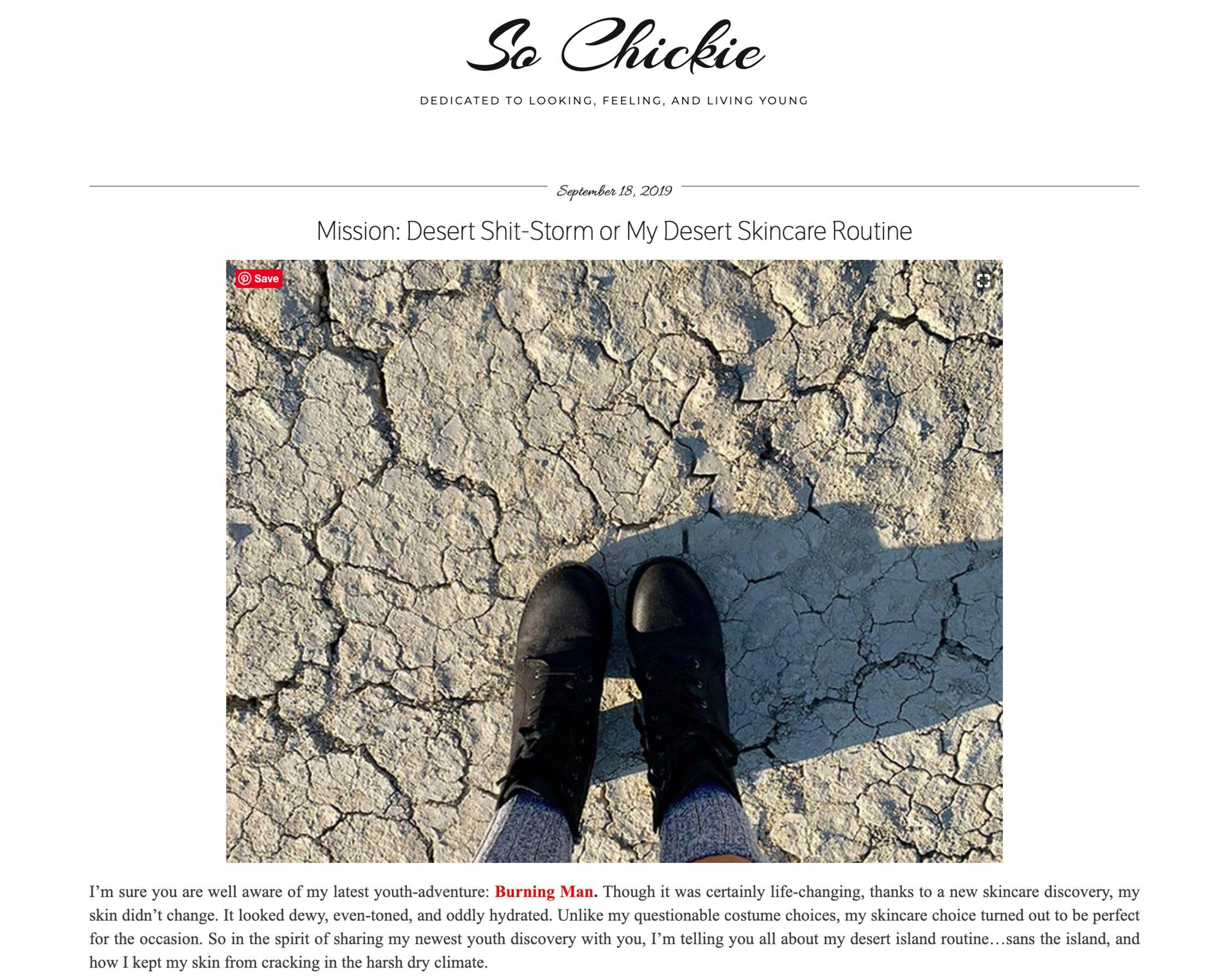 Sochickie.com Blog post about Mikel Kristi Skincare
