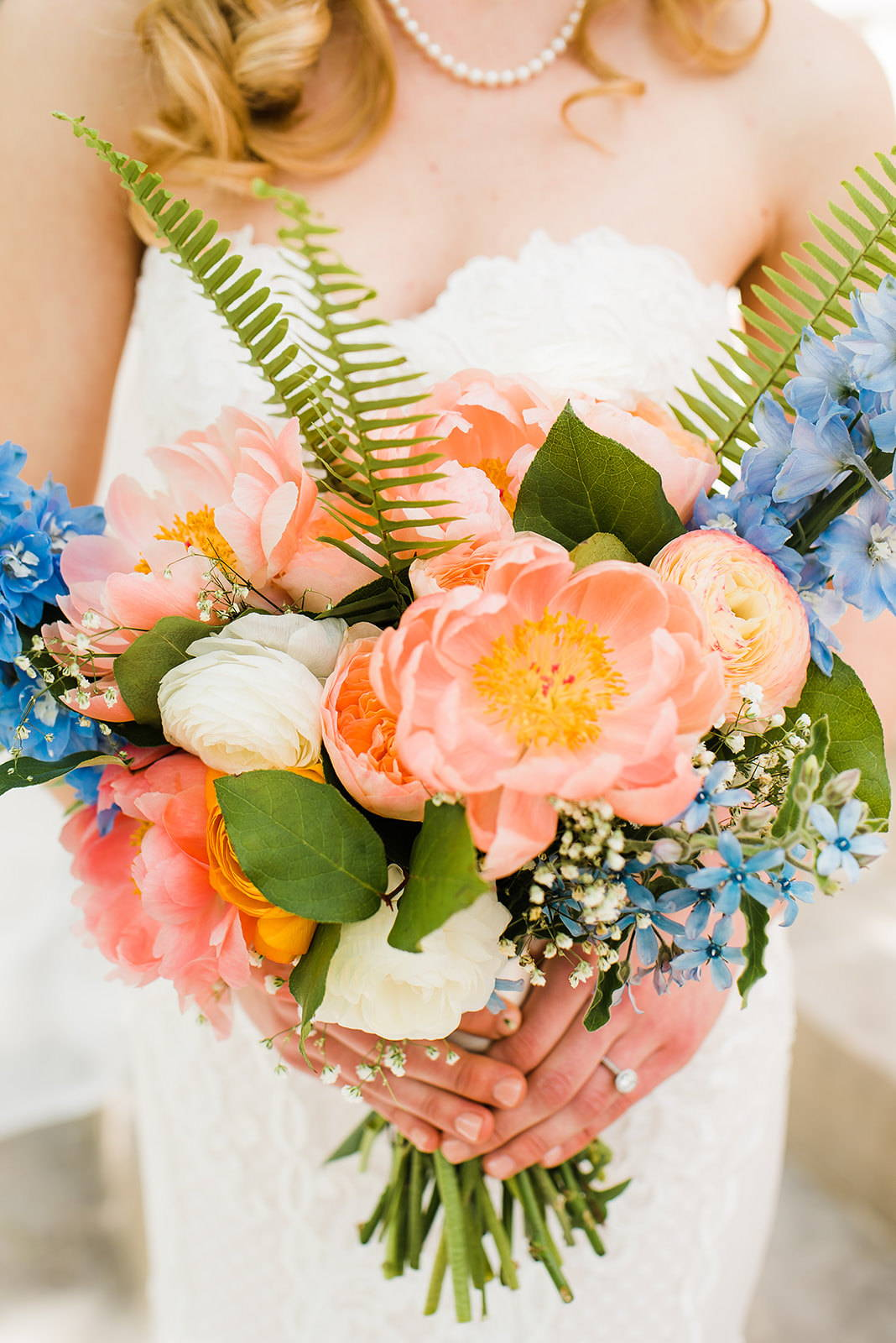 DIY BOUQUET:  Coral Peonies, White and Peach Ranunculus, Sword Fern, Delphinium
