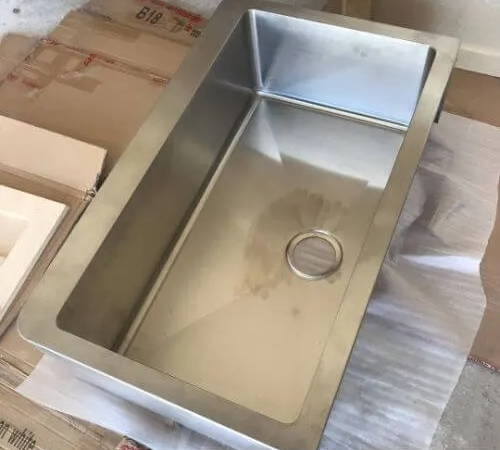 metal sink before sound deadening
