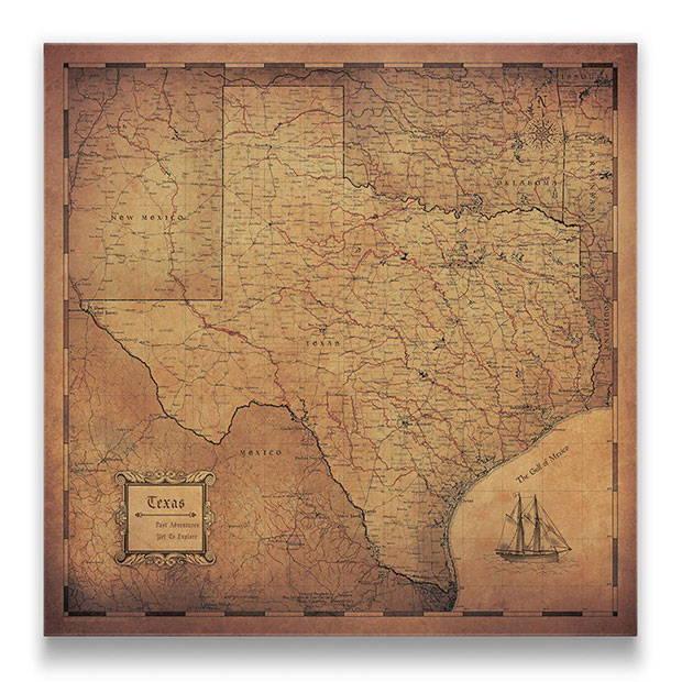 Texas Push pin travel map golden aged