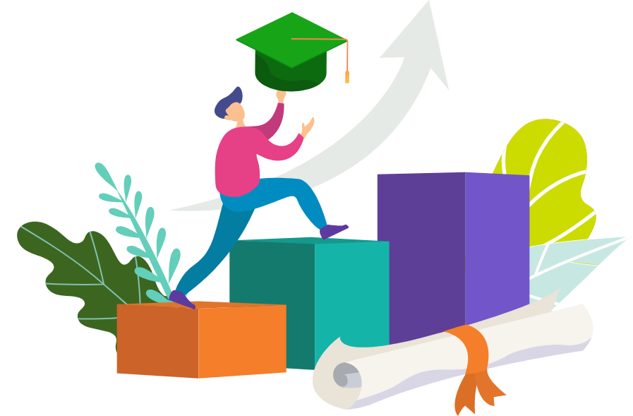 Illustration of a student graduating with OSSD Diploma