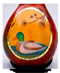 Gourd vase with mallard duck by gourd artist Christy Barajas