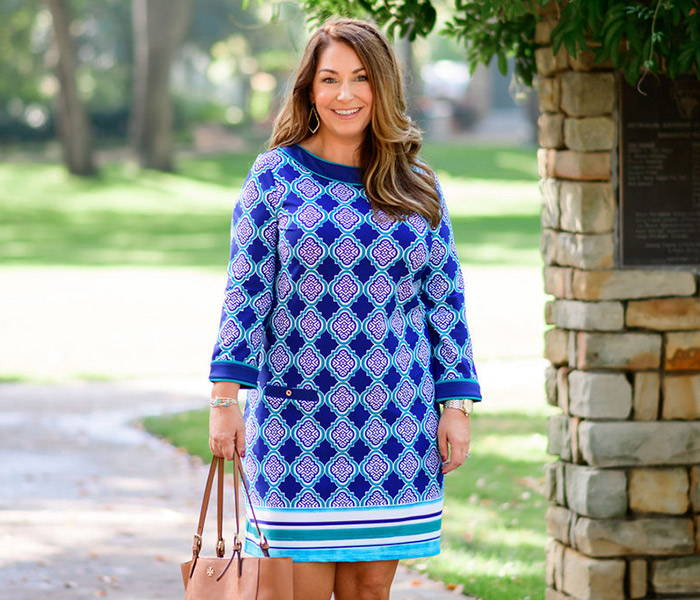 Ryanne (@therecruitermom) wearing TRM x CL Hampshire Cabana Shift Dress