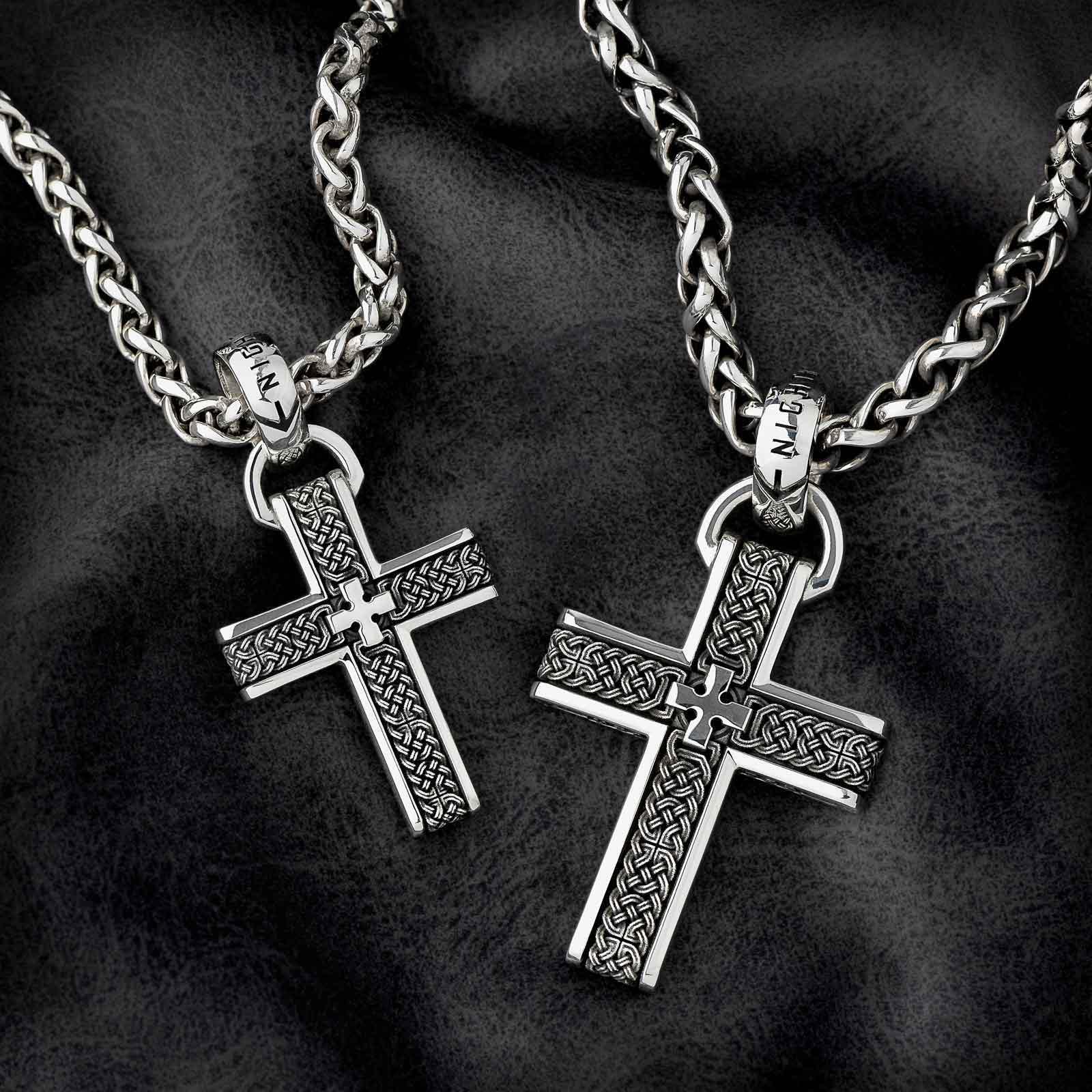 The Joshua Cross Pendant in both Small and Medium Sizes