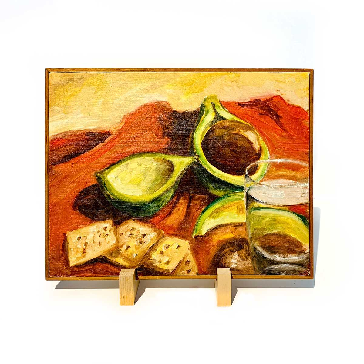 maple cutting board holder displaying artwork