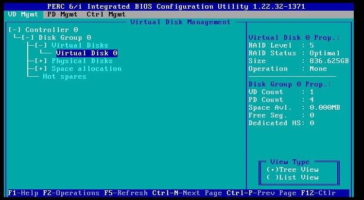 creating a virtual disk on the perc 6i raid controller
