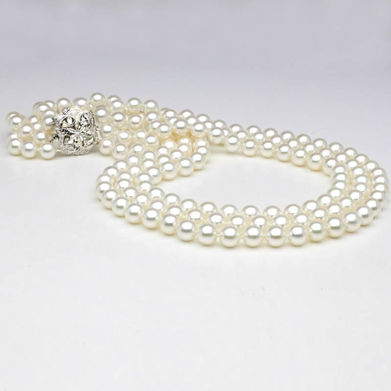 Custom Design Pearl Jewelry - Triple Strand Pearl and Diamond Necklace