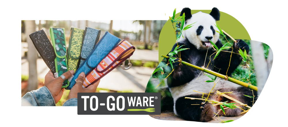 To-Go Ware Premium reusable bamboo utensil sets that have a fork, knife, spoon, chopsticks and straw. Case made from recycled plastic. Set of 5 are fanned out next to a panda eating bamboo.