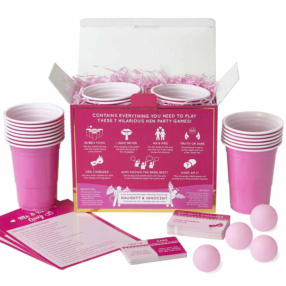 Hen Hamper Party Drinking Game Box Back Components