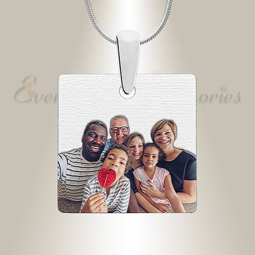 Full Color Square Photo Engraved Jewelry