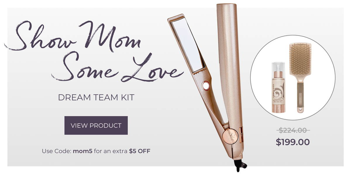 all in one styling iron for mom for mothers day with free paddle brush and thermal heat protectant