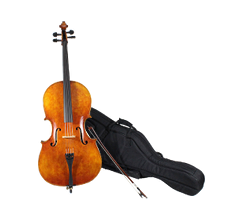 Cello, bow, and case