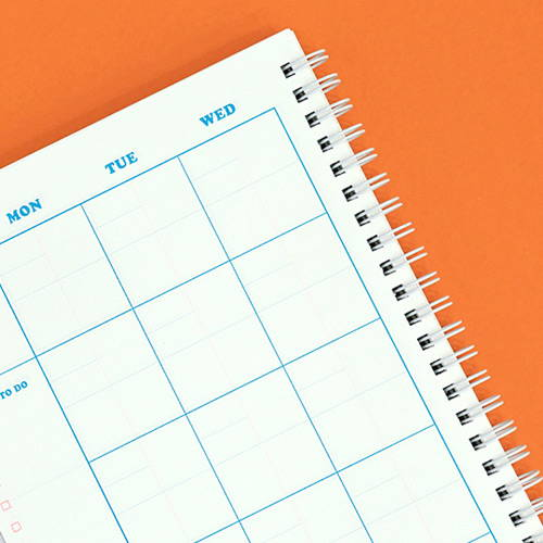 Twin-wire binding - Neon pop spiral bound dateless weekly planner