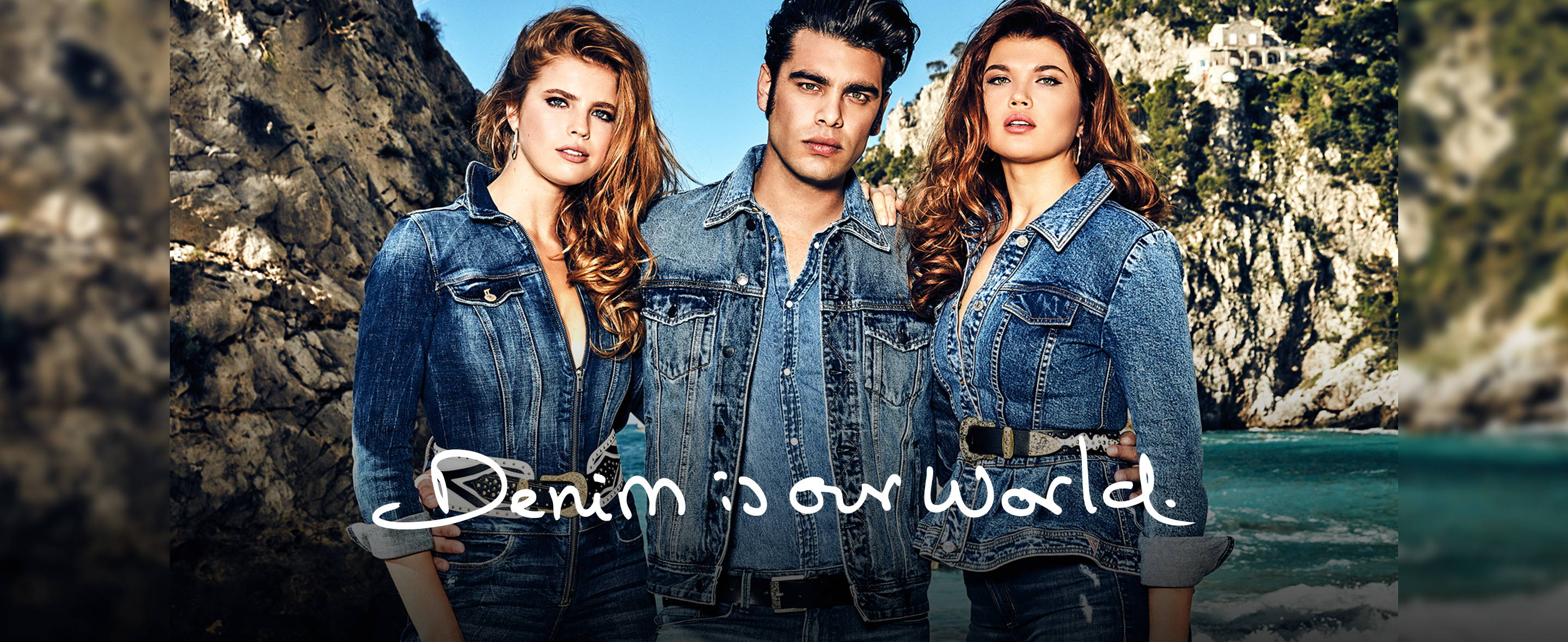 the GUESS denim is our world campaign image of 3 people wearing denim