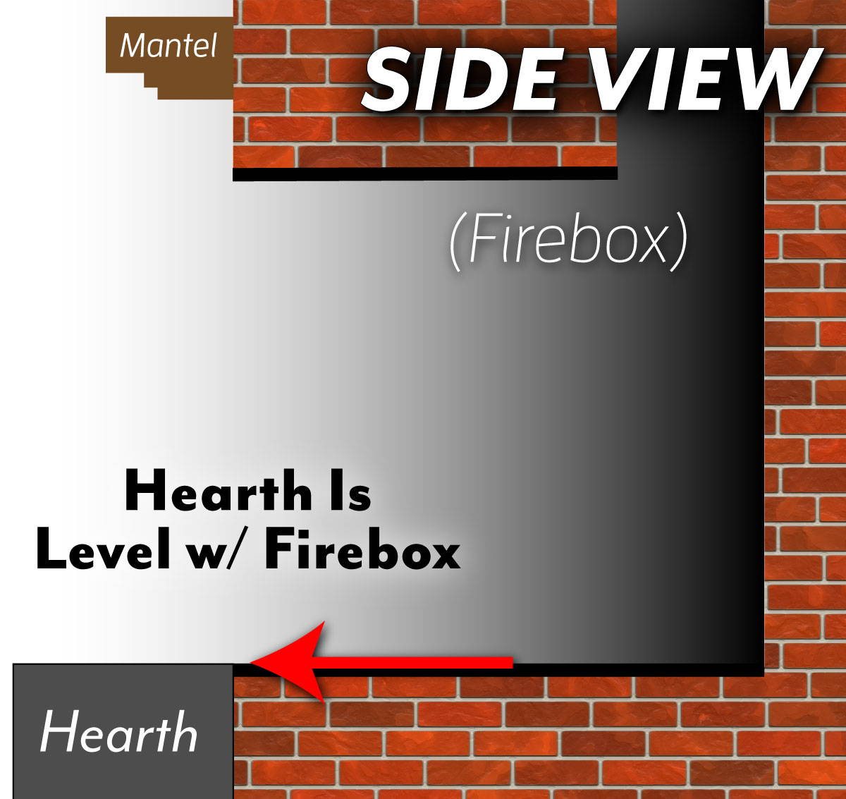 Level Hearth -  Fire Box Even Side View