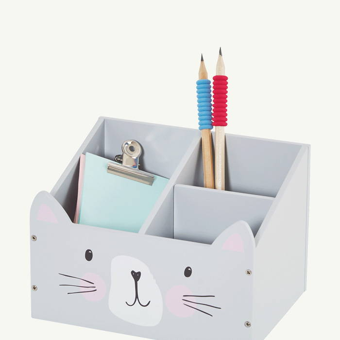 Grey desk tidy with cat face