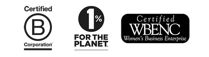 B Corp logo, 1% for the planet logo and WBENC logo