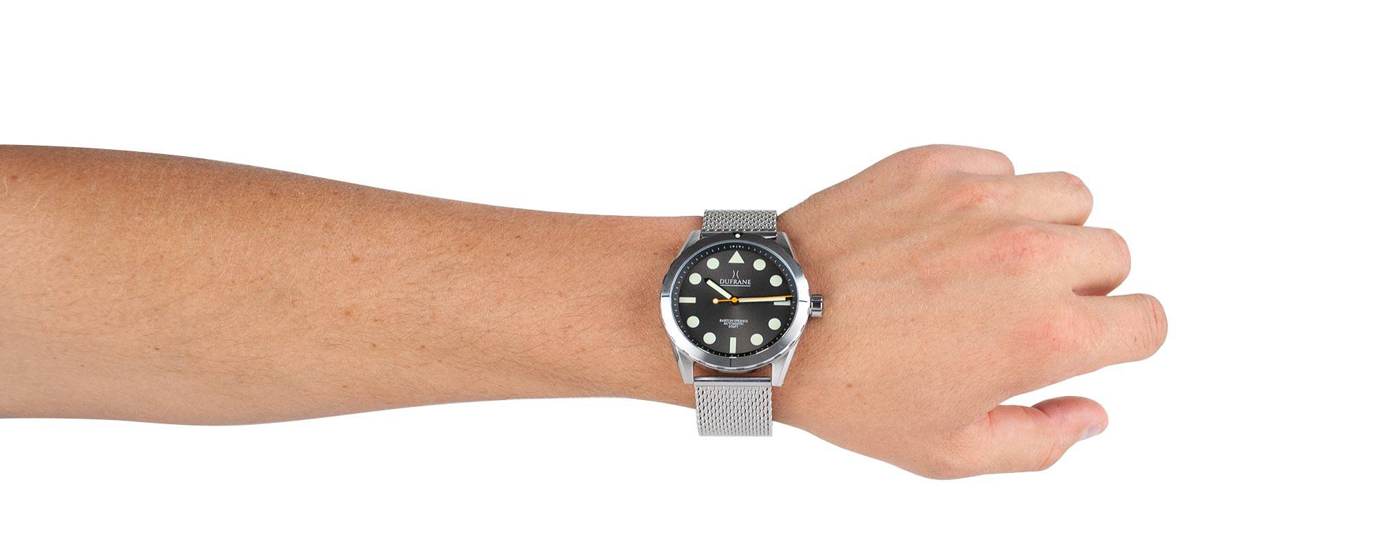 Stainless steel mesh bracelet on black sunburst Barton Springs 656