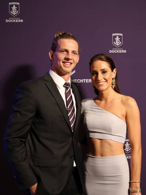 Footballer Nathan Fyfe wearing Daniel Hechter at the Fremantle Dockers Gala in Perth